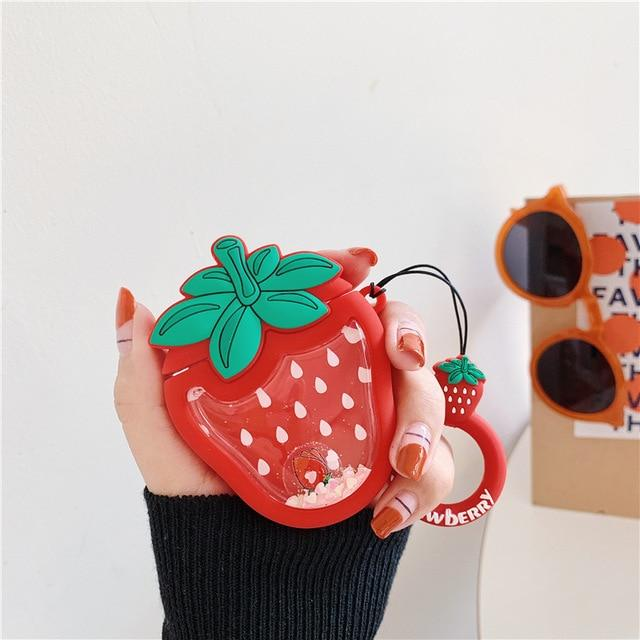 Strawberry 'Snow Globe Belly' Premium AirPods Case Shock Proof Cover-iAccessorize
