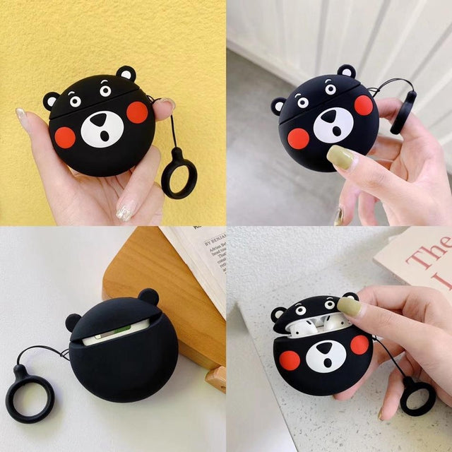Surprised Black Bear Premium AirPods Case Shock Proof Cover-iAccessorize