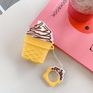 Vanilla w/Chocolate Drizzle Ice Cream Cone Premium AirPods Case Shock Proof Cover-iAccessorize