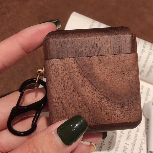 Walnut Wood AirPods Case Shock Proof Cover-iAccessorize