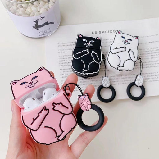 White Cat Premium AirPods Case Shock Proof Cover-iAccessorize