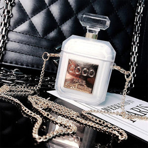 White Chanel Perfume Bottle AirPods Case Shock Proof Cover-iAccessorize