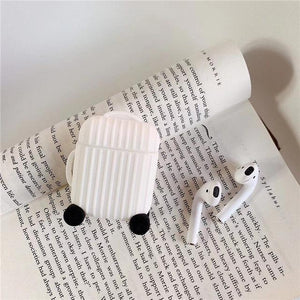 White Round Luggage AirPods Case Shock Proof Cover-iAccessorize