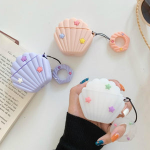 White Seashell Premium AirPods Case Shock Proof Cover-iAccessorize