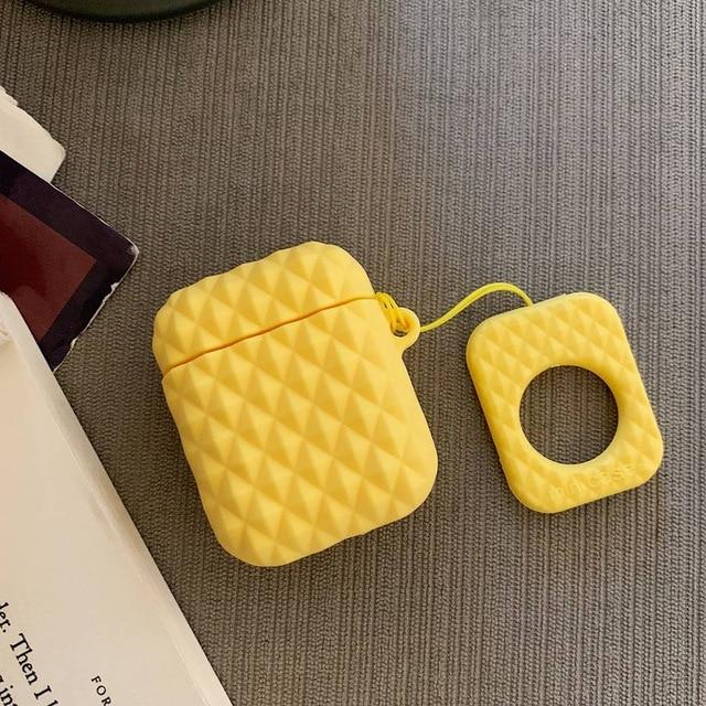 Yellow Textured AirPod Case Shock Proof Cover-iAccessorize