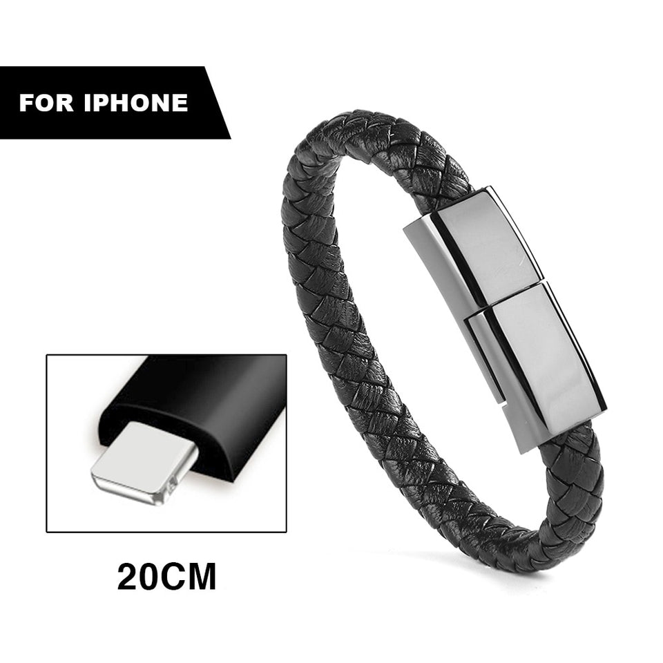 2-In-1 Leather Bracelet & Phone Charger