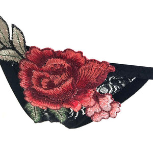 Rose Embroidered Thong
