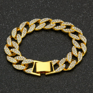 Luxury Jewellery Hip Hop Gold Bracelet Iced Out Miami Cuban Link  Fashion Bracelet