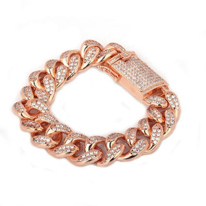 Chunky Iced Out Miami Cuban Link Bracelets  Gold Silver