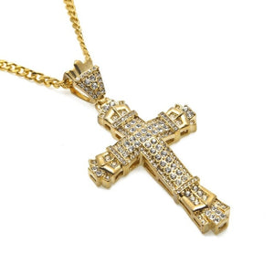 2 Colors 5mm 30inch Stainless Steel Cuban Chain Hip Hop Rhinestone Cross Bling Iced Out Jewelry Pendant Necklace N609