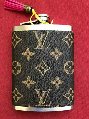 Handcrafted Flask handmade with re-purposed Louis Vuitton Canvas