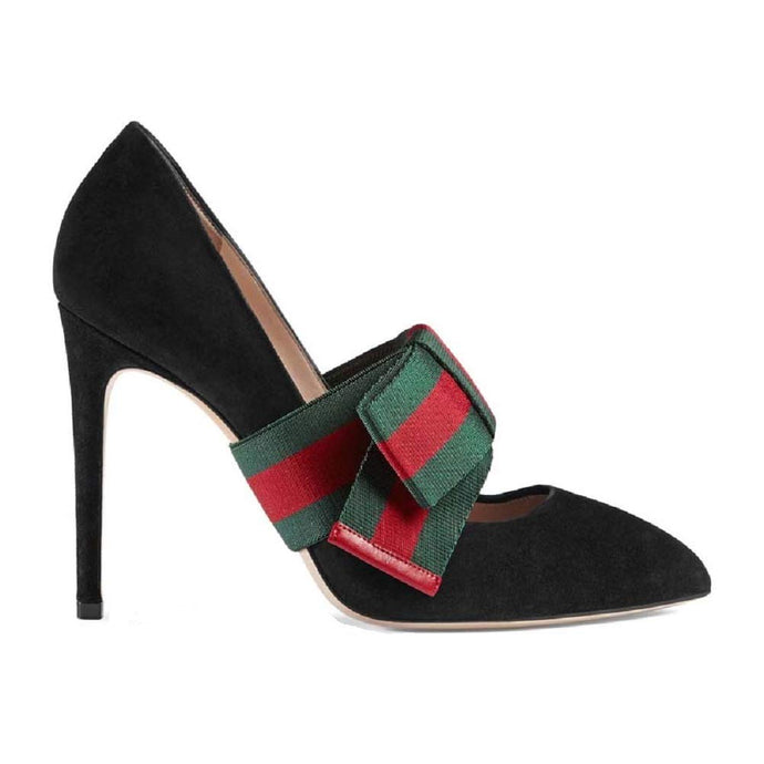 High Heel Shoes, Pointed top Detachable, tussah tie Black Imitation Leather Shoes Gucci/Women's Shoes