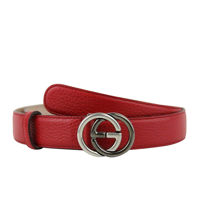 Gucci Unisex Interlocking G Red Leather With Silver/Black Buckle Belt 295704 6420