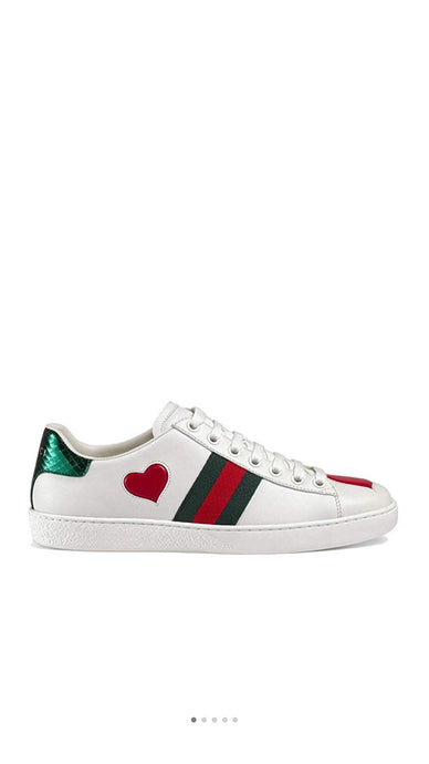 Simple-Gucci New Style Women's and Men's Shoes Leather Embroidery Love Sports Shoes Casual Shoes White Shoes (38EU)
