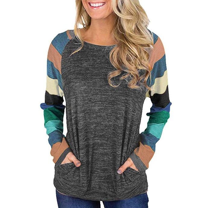 Connia Casual Women Long Sleeve O-Neck Stripe Blouse Patchwork Pullover Tops Sweater Shirt Tunic Sweatshirt
