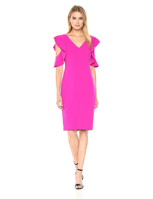 Laundry by Shelli Segal Women s Ruffle Cold Shoulder Sleeve Cocktail Dress af3f8f7d1
