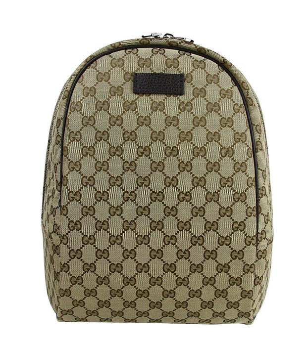 Gucci Unisex Zipper Top Beige/Brown GG Canvas Backpack 449906 9873
