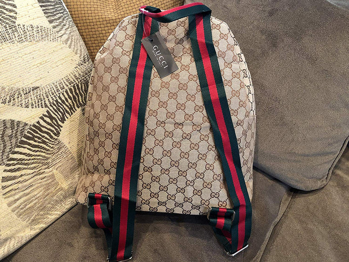 New Gucci Canvas Backpack with Web Straps