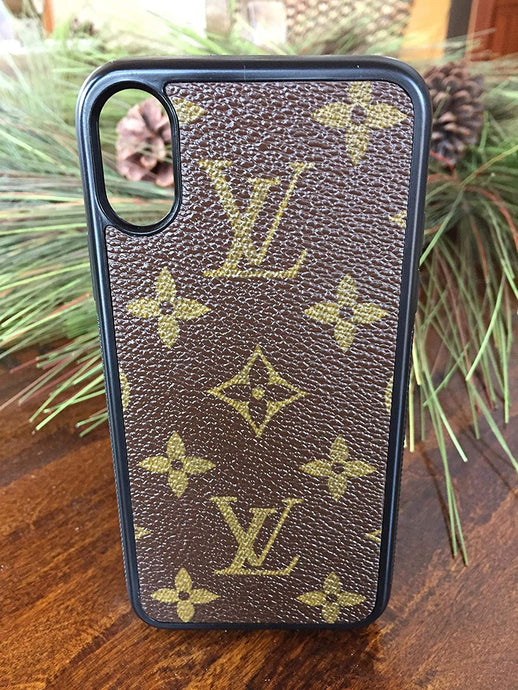 Handcrafted case covered with repurposed Louis Vuitton canvas