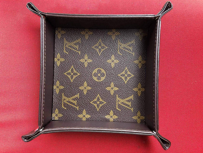 Handcrafted Valet Carryall Catchall Tray handmade with re-purposed Louis Vuitton Canvas