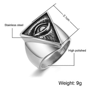 D&Z Punk Illuminati Pyramid Eye Ring Men 316L Stainless Steel Hip Hop Gold Color Triangle Rings for Men Jewelry Egyptian Pharaoh