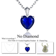 Load image into Gallery viewer, DOUBLE-R 925 Sterling Silver Emerald Necklace Sapphire Pendant Ruby jewelry heart Necklaces & Pendants for women silver 925
