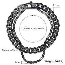 Load image into Gallery viewer, Davieslee Male Bracelet for Men Curb Cuban Box Wheat Link Chain Double Layer Stainless Steel