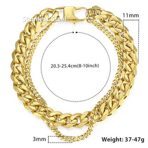 Davieslee Male Bracelet for Men Curb Cuban Box Wheat Link Chain Double Layer Stainless Steel