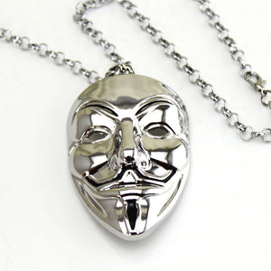 Fashion Hip Hop Jewelry Movie V for Vendetta Mask Exaggerated Hacker Mask necklaces For Men And Women 1 Pcs