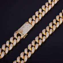 "Load image into Gallery viewer, 20mm Heavy Iced Out Zircon Miami Cuban Link Necklace Choker Gold Silver Chain 18"" 20"""
