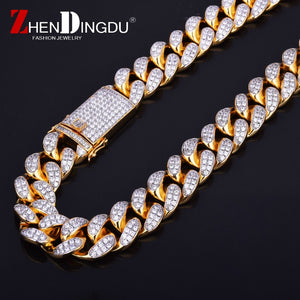 "20mm Heavy Iced Out Zircon Miami Cuban Link Necklace Choker Gold Silver Chain 18"" 20"""