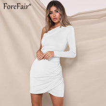 Load image into Gallery viewer, Forefair Women Dress Autumn 2018 Sexy Party Dresses Women One Shoulder Long Sleeve Ruched Bodycon Mini Dress Ladies Vestidos