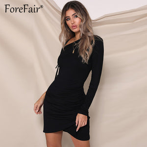 Forefair Women Dress Autumn 2018 Sexy Party Dresses Women One Shoulder Long Sleeve Ruched Bodycon Mini Dress Ladies Vestidos