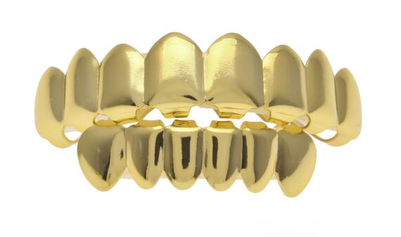 Gold Finish Grills Set Eight 8 Top Teeth & Six 6 Bottom Tooth Plain Hip Hop Grills New High Quality Christmas Halloween Gift