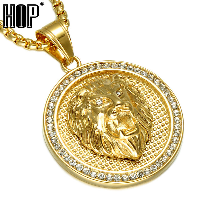56aa946c0 HIP Hop Ice Out Gold Color Titanium Stainless Steel Pave Rhinestone Lion  Head Pendants Necklaces for