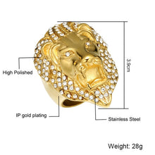 Load image into Gallery viewer, HIP Hop Micro Pave Rhinestone Iced Out Bling Lion Head Mens Ring IP Gold Filled Titanium Stainless Steel Rings for Men Jewelry