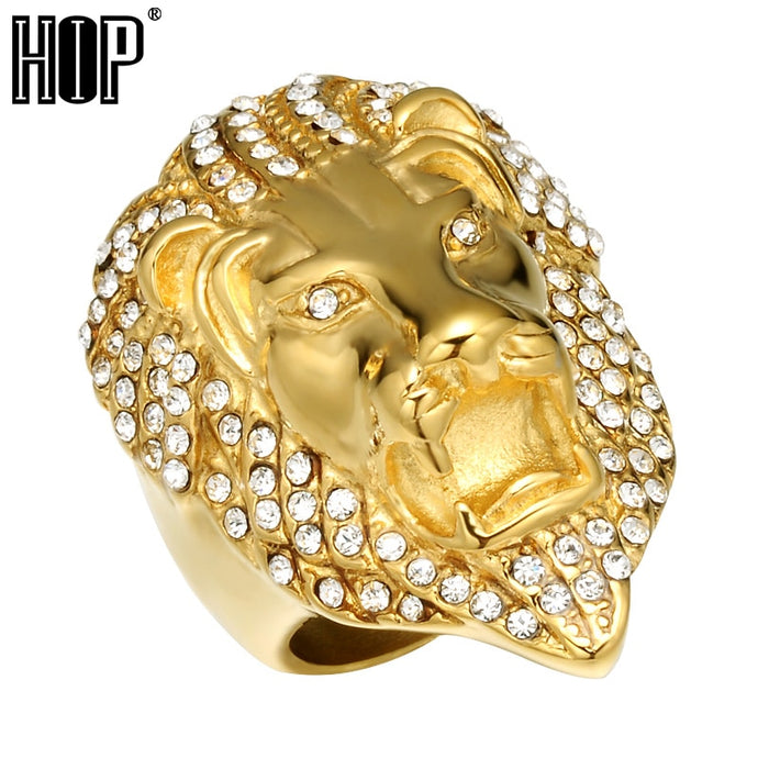 aa3ed2dc8 HIP Hop Micro Pave Rhinestone Iced Out Bling Lion Head Mens Ring IP Gold  Filled Titanium