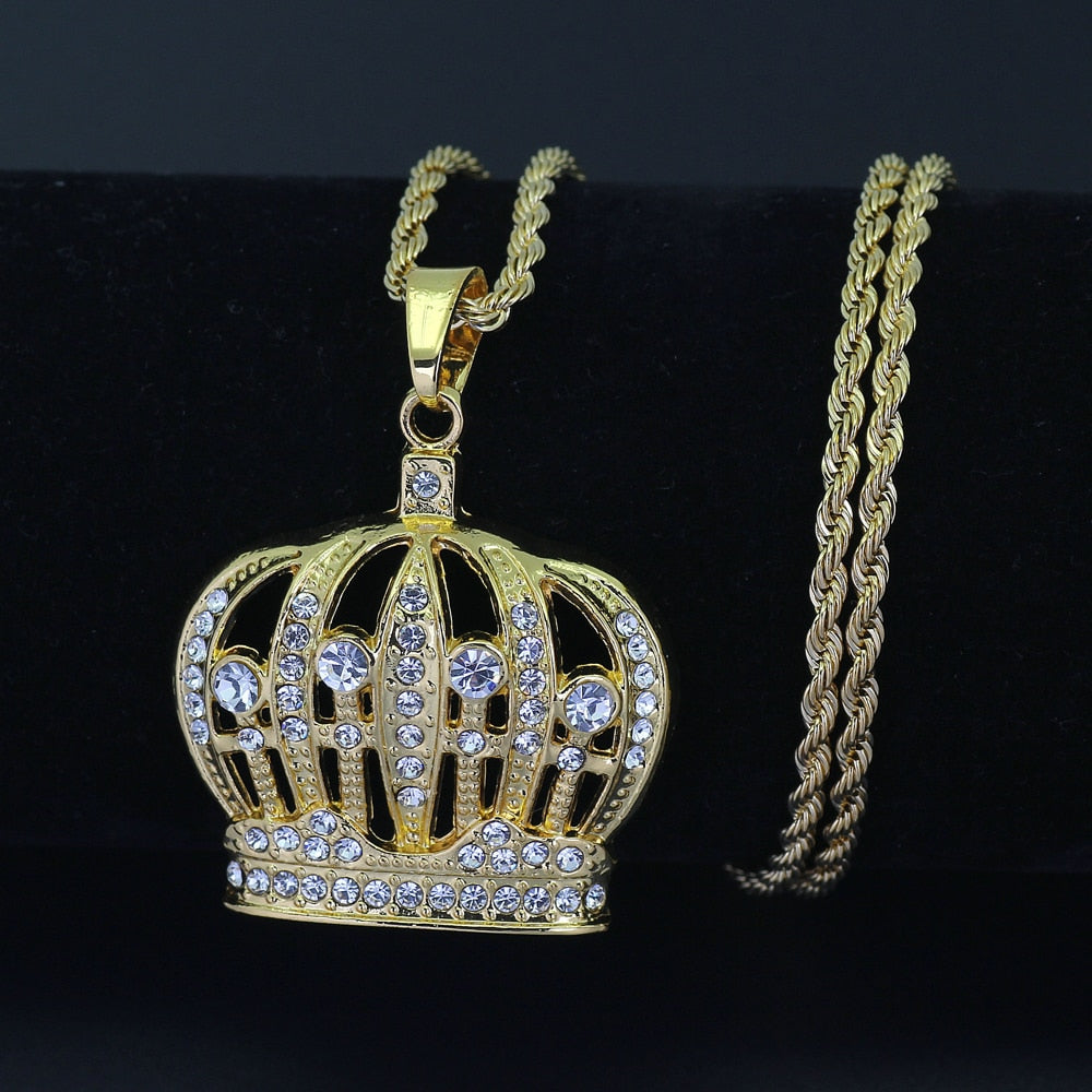 Hip Hop King Crown Pendants Necklace Iced Out Rhinestone women Necklace 24inch Stainless Steel Rope Chain  N579