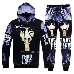 2 Piece Set Men And Women Casual Tracksuits 3D Print Hip-hop