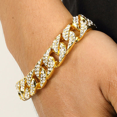 Men Luxury Rhinestone Fashion Bracelets Unisex High Quality Bangles Gold Color Iced Out Miami Cuban Link Chain Bracelet Hip Hop