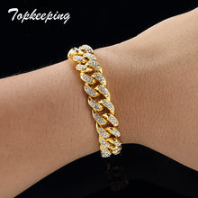 Load image into Gallery viewer, Men Luxury Rhinestone Fashion Bracelets Unisex High Quality Bangles Gold Color Iced Out Miami Cuban Link Chain Bracelet Hip Hop