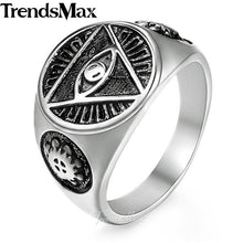 Load image into Gallery viewer, Men's Ring 316L Stainless Steel Rings for Men Gold Silver Color Illuminati Pyramid Eye Hip Hop Jewelry Dropshipping 2018 HR365