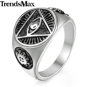 Men's Ring 316L Stainless Steel Rings for Men Gold Silver Color Illuminati Pyramid Eye Hip Hop Jewelry Dropshipping 2018 HR365