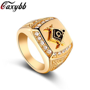 New Brand 24k Gold Classic Men's Punk Style Masonic Ring Hip Hop Iced Out Bling Rings Fashion Jewelry Wholesale
