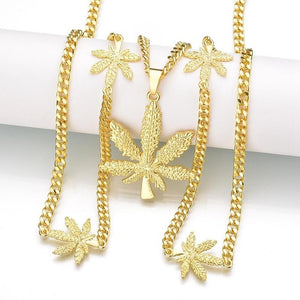 New Iced Out Weed HipHop Necklace&Pendant Gold-Color Maple Leaf Pendant Long Silver Chain Hip Hop Bling Necklace for Men Mujer