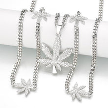 Load image into Gallery viewer, New Iced Out Weed HipHop Necklace&Pendant Gold-Color Maple Leaf Pendant Long Silver Chain Hip Hop Bling Necklace for Men Mujer