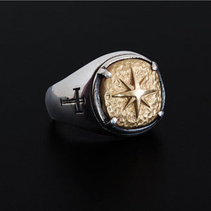 Retro Captain Compass Finger Ring for Men Ancient Gold Color Cross Compass Rings Punk Biker Jewelry Hip Hop Team Gifts for Party