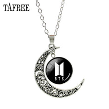 Load image into Gallery viewer, TAFREE BTS Pendants Necklace Big Round Moon Best Lady Long Chain Necklace Pendant Choker Statement Girls Women Men Jewelry BTS47