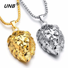 Load image into Gallery viewer, UNB 2017 Hip Hop Lion Head Pendant Necklace For Men Luxury Gold Silver Plated Long Necklaces Jewelry Friendship Gifts Wholesale