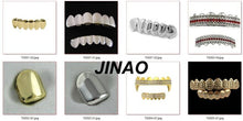 Load image into Gallery viewer, Wholesales JINAO New Custom Fit Gold Color Plated Hip Hop Teeth Grillz Caps Fangs Top & Bottom Grill Set for Party vampire teeth